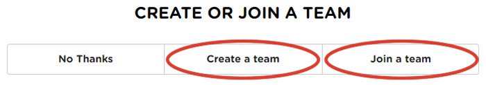 create or join a team